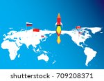 the missile on world map and...   Shutterstock .eps vector #709208371