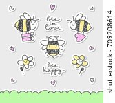 cute hand drawn vector bees ... | Shutterstock .eps vector #709208614