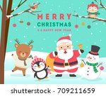 Stock vector cute cartoon animals and santa claus for christmas and new year card design 709211659