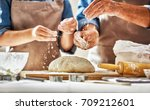 close up view of bakers are... | Shutterstock . vector #709212601