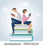 Man And Woman Reading Books...