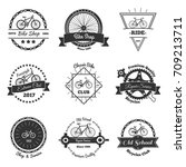 bicycle vintage emblems set of... | Shutterstock .eps vector #709213711