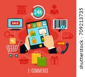 e commerce round composition... | Shutterstock .eps vector #709213735