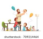 young family with kids home... | Shutterstock .eps vector #709214464