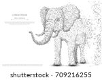 Elephant isolated from low poly wireframe on white background. African and indian animal. Vector abstract polygonal image mash line and point hands collect puzzle with an inscription. Digital graphics | Shutterstock vector #709216255