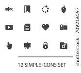 set of 12 multimedia icons set...   Shutterstock .eps vector #709216597