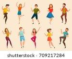 dancing people moves retro... | Shutterstock .eps vector #709217284