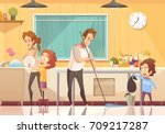 kids helping parents cleaning... | Shutterstock .eps vector #709217287