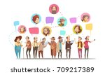 senior men citizens... | Shutterstock .eps vector #709217389