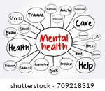 mental health mind map... | Shutterstock .eps vector #709218319