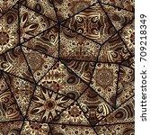 hand drawn seamless patchwork... | Shutterstock .eps vector #709218349