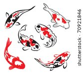 Set Of Koi Fish Illustration
