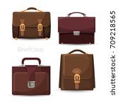 brown leather cases for... | Shutterstock .eps vector #709218565