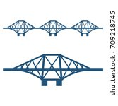 forth bridge set of blue... | Shutterstock .eps vector #709218745