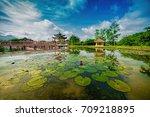 tasik melati or taman melati  ...   Shutterstock . vector #709218895