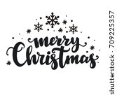 merry christmas lettering design | Shutterstock .eps vector #709225357