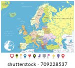 europe political map and flat... | Shutterstock .eps vector #709228537