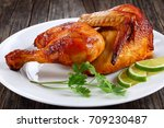 half of appetizing grilled... | Shutterstock . vector #709230487