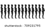 set silhouette of a pregnant... | Shutterstock .eps vector #709231795
