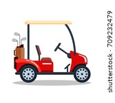 vector electric golf car with... | Shutterstock .eps vector #709232479