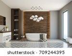 gray and wooden bathroom... | Shutterstock . vector #709244395