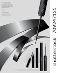 poster cosmetic eyeliner with... | Shutterstock .eps vector #709247125