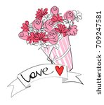 bouquet of flowers vector... | Shutterstock .eps vector #709247581