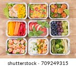 healthy meals and salads in... | Shutterstock . vector #709249315