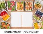 planning a diet. healthy meals... | Shutterstock . vector #709249339