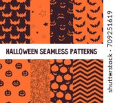 halloween orange and black... | Shutterstock .eps vector #709251619