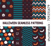 halloween vector seamless... | Shutterstock .eps vector #709251679
