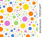 colorful polka dots seamless... | Shutterstock .eps vector #709251697