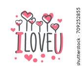 i love u logo template ... | Shutterstock .eps vector #709252855
