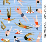 people swimming pattern. summer ... | Shutterstock .eps vector #709254301