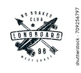 emblem of longboard club.... | Shutterstock .eps vector #709256797