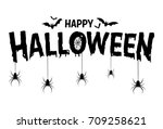 happy halloween text banner ... | Shutterstock .eps vector #709258621