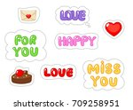 set of love sticker. flat and... | Shutterstock .eps vector #709258951