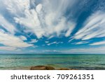 beautiful beach at chalkidiki... | Shutterstock . vector #709261351