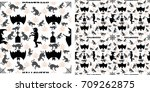seamless of halloween pattern... | Shutterstock .eps vector #709262875