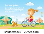 girl rides a bike | Shutterstock .eps vector #709265581