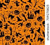 halloween seamless pattern with ... | Shutterstock .eps vector #709270825