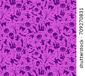 halloween seamless pattern with ... | Shutterstock .eps vector #709270831
