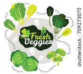mix fresh green vegetables... | Shutterstock .eps vector #709273075