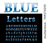 blue alphabet  fat blue letters ... | Shutterstock .eps vector #709273255