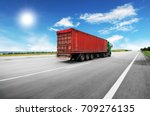 green truck with the red... | Shutterstock . vector #709276135