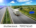 white truck with the grey... | Shutterstock . vector #709276165