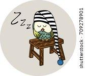 cute owl sleeping on wooden... | Shutterstock .eps vector #709278901