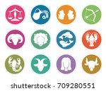 horoscope zodiac vector signs.... | Shutterstock .eps vector #709280551