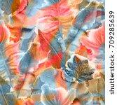 tropical hawaiian background.... | Shutterstock . vector #709285639