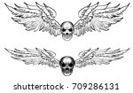 hand drawn skull with wing... | Shutterstock .eps vector #709286131